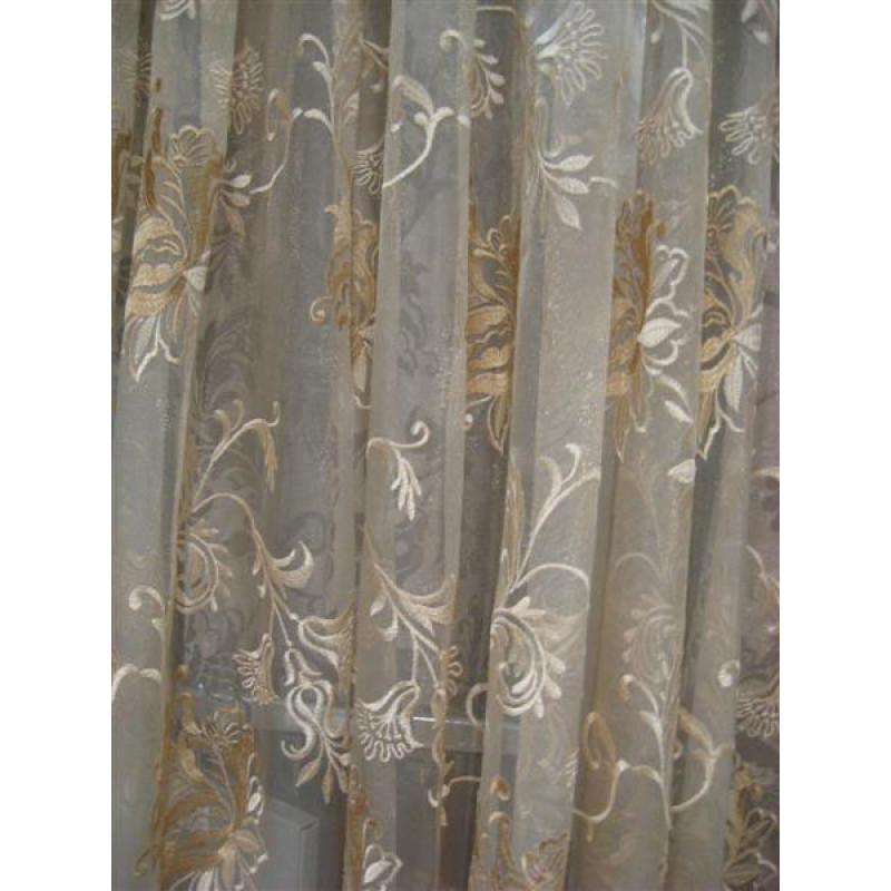 Тюль сетка с вышивкой без утяжелителя «Версаль» арт. 6502-3B