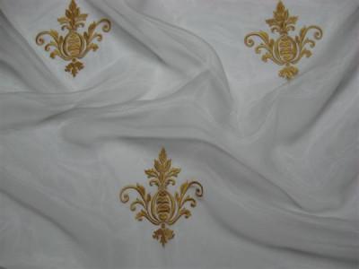 Тюль «Императорский» с вышивкой золотой нитью арт. 130623В-14 органза белая, коронка золотая