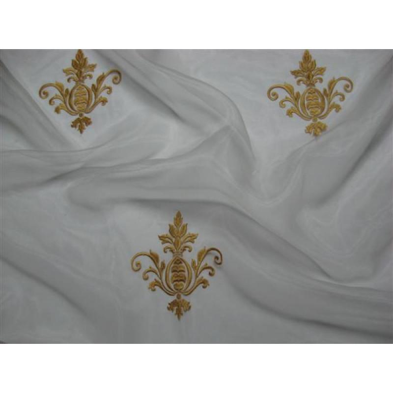 Тюль «Императорский» с вышивкой золотой нитью арт. 130623В-14