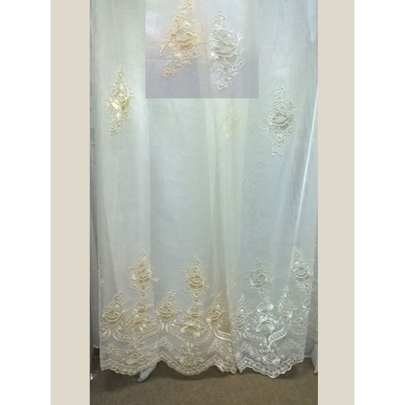 Тюль-сетка белая вышивка арт. 101638856-02 белый
