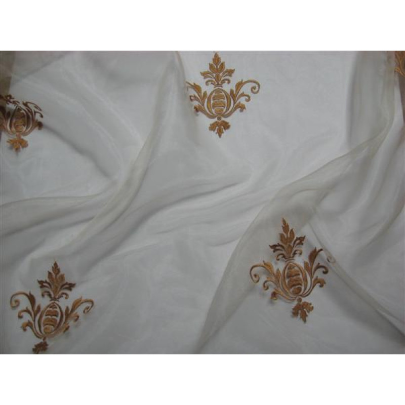 Тюль «Императорский» с вышивкой золотой нитью арт. 130623В-18 органза шампань, коронка темно-бежевая