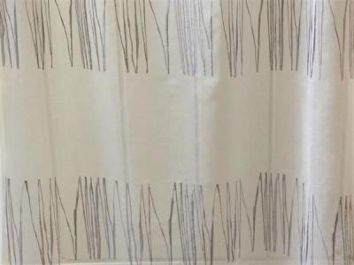 Тюль «Тонкий лён» арт. DS00214-3 молочный, вышивка серая
