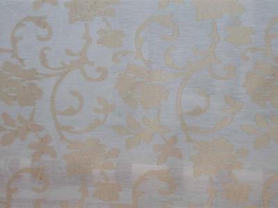 Тюль батист «Роза Бель» без утяжелителя арт. M 0092-3 белый, рисунок темно-бежевый