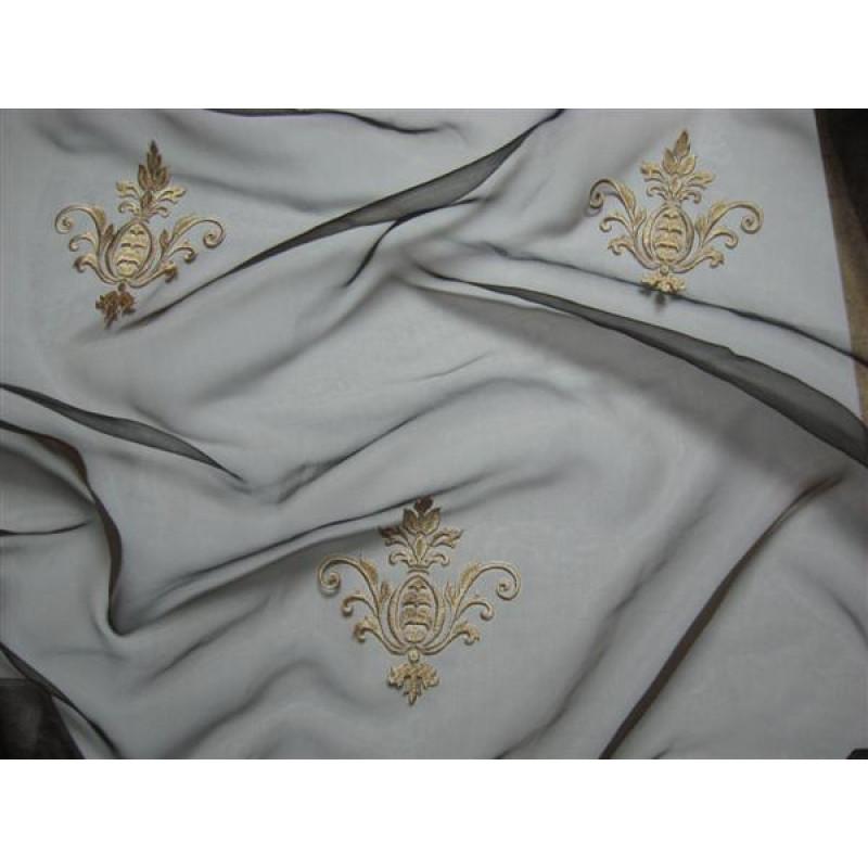 Тюль «Императорский» с вышивкой золотой нитью арт. 130623В-23 органза коричневая, коронка бежевая