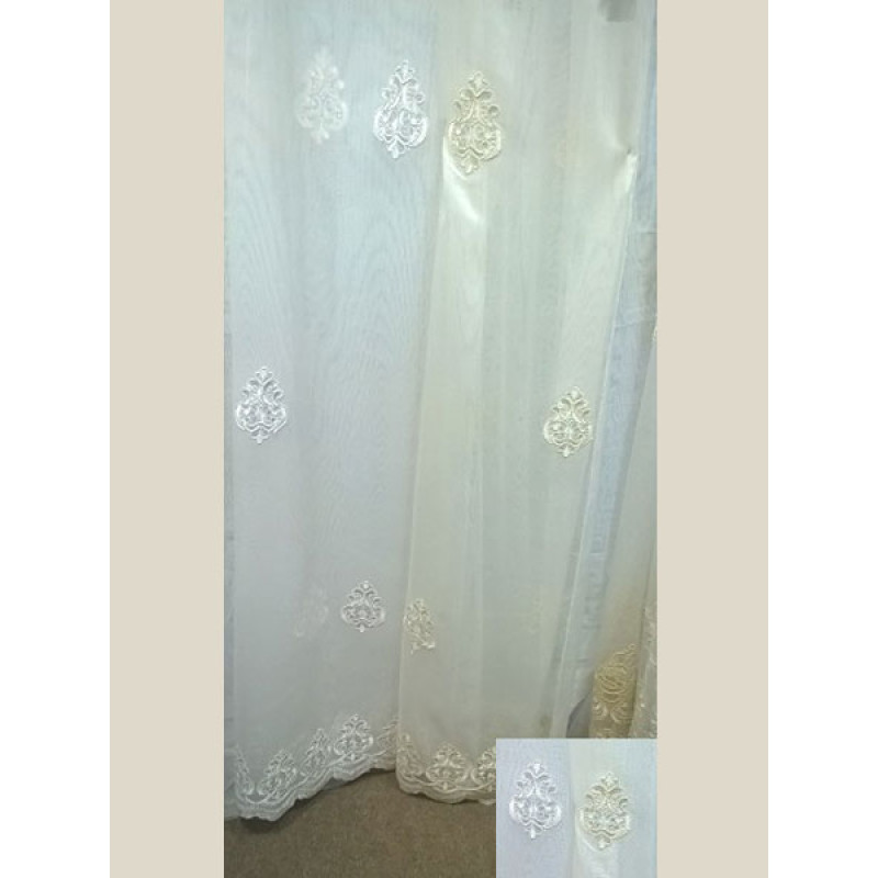 Тюль-сетка белая вышивка арт. 101638836-01 белый