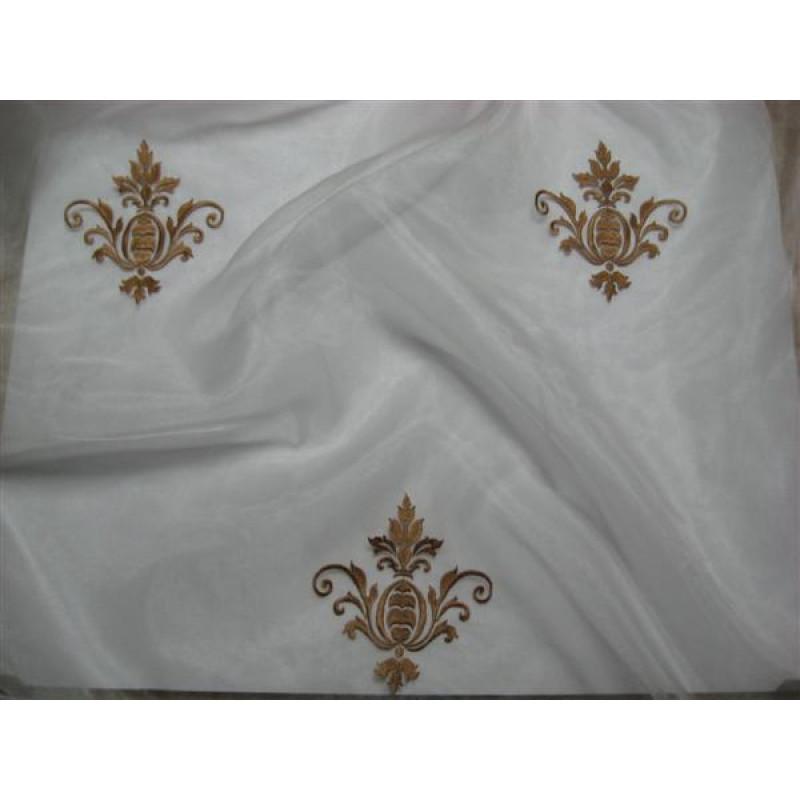 Тюль «Императорский» с вышивкой золотой нитью арт. 130623В-25