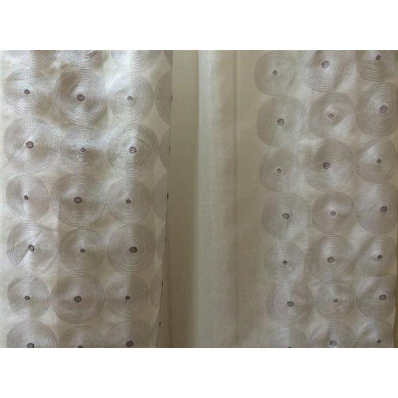 Тюль «Тонкий лён» арт. DS00216-3 молочный, вышивка серая