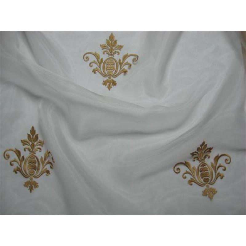 Тюль «Императорский» с вышивкой золотой нитью арт. 130623В-2 органза белая, коронка бежевая