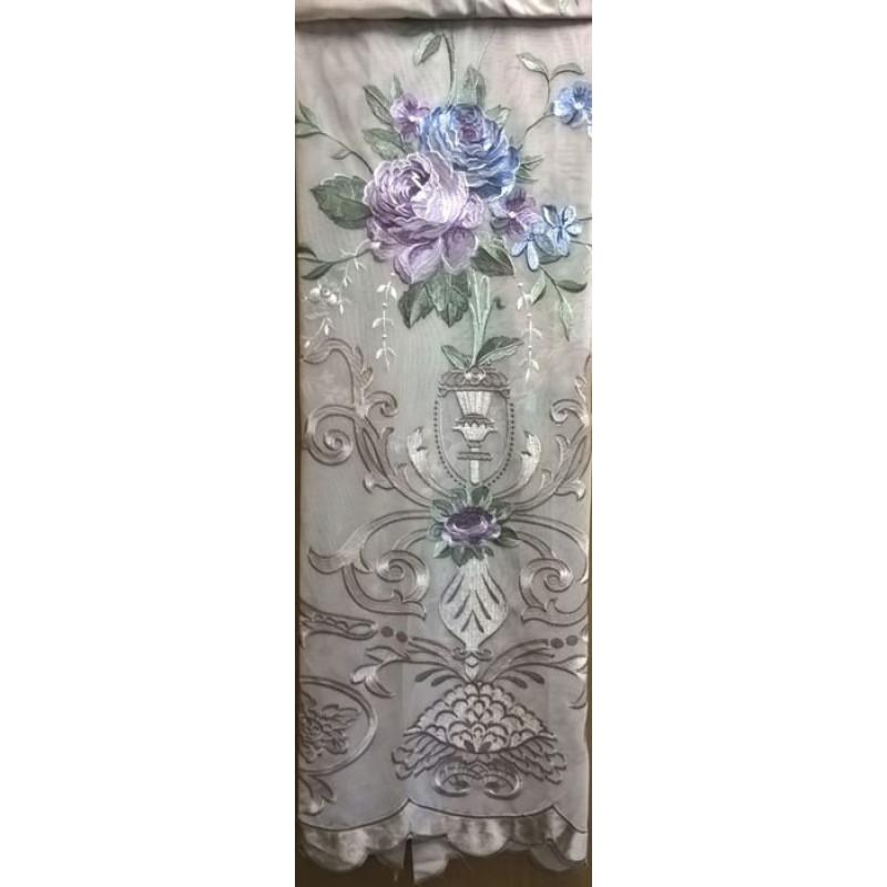 Тюль-сетка «Вернисаж» серебристо-бежевый арт. 02718901-02 сетка бежевая, вышивка фиолетово-синяя
