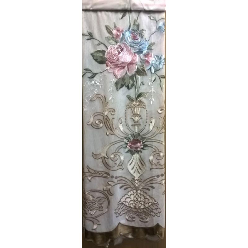 Тюль-сетка «Вернисаж» темное золото арт. 02718901-04 сетка бежевая, вышивка розово-голубая