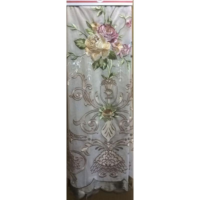 Тюль-сетка «Вернисаж» бежевый арт. 02718901-05 сетка бежевая, вышивка бежево-розовая